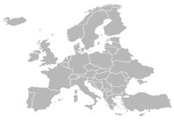 Europe map vector with country borders