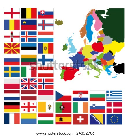 Europe map  with all european flags