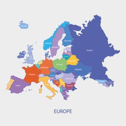 Europe Map With Borders  And Name Of The Countries  illustration vector