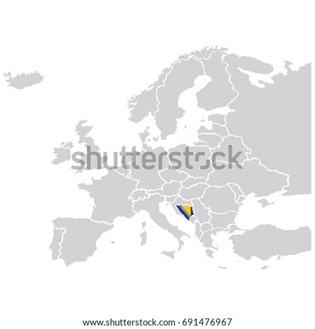 EUROPE MAP WITH BOSNIA FLAG VECTOR