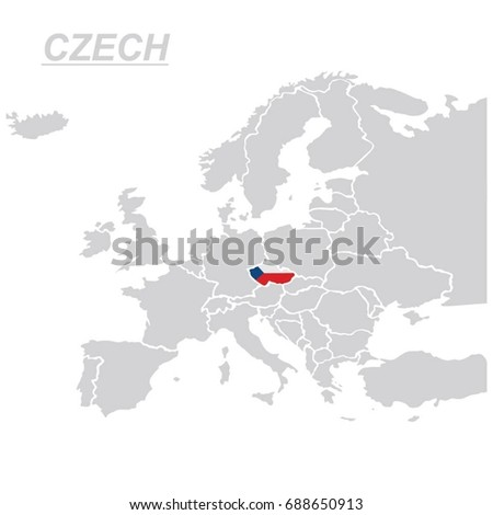 EUROPE MAP WITH CZECH VECTOR