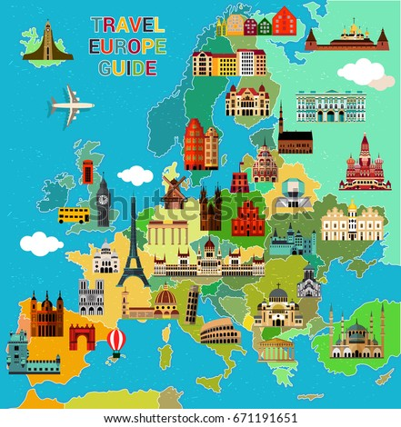Europe Map with Famous Sightseeing. Travel Guide. Vector
