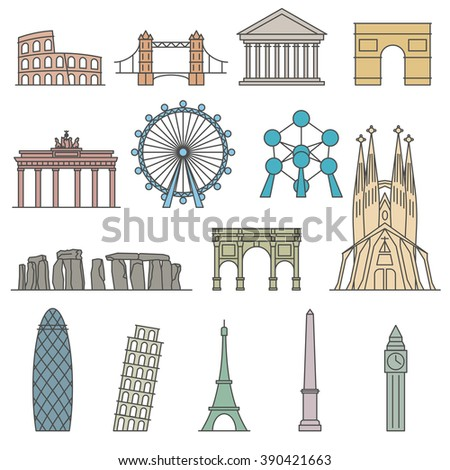 Europe monument Vector. Line art style