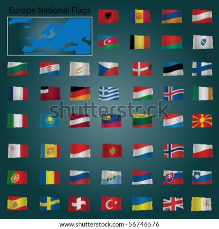 Europe National Flags Vector Pack