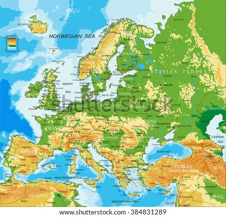 Europe - physical map Foto stock ©