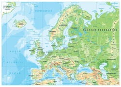 Europe Physical Map. Detailed vector illustration of Europe Physical Map.