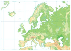 Europe Physical Map Isolated on White. No text. Detailed vector illustration of Europe Physical Map.