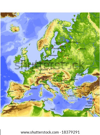 Europe. Physical vector map, colored according to elevation, with rivers, ocean depths and 63 cities. 28 layers, fully editable. Data source: NASA
