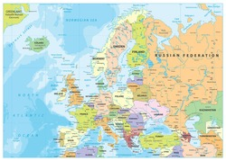 Europe Political Map and Bathymetry. Detailed vector illustration of Europe Map.