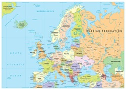 Europe Political Map and Roads. Detailed vector illustration of Europe Map.