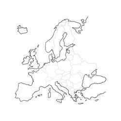 Europe political map, outline design
