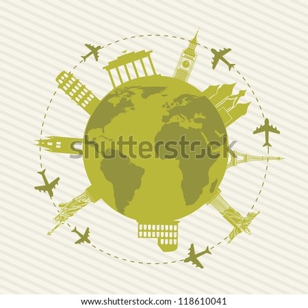 europe sights over planet background. vector illustration