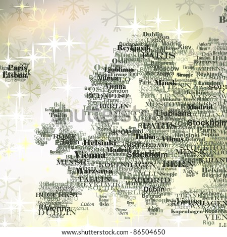 Europe silhouette made from capitals names on Christmas background with  glittering snowflakes