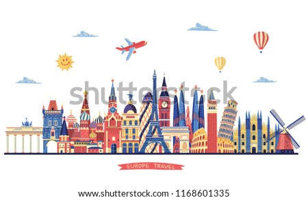 Europe skyline detailed silhouette. Travel and tourism background. Paris, London, Rome, Italy, Moscow, Istanbul, Prague, Vienna, Madrid famous monuments. Vector illustration