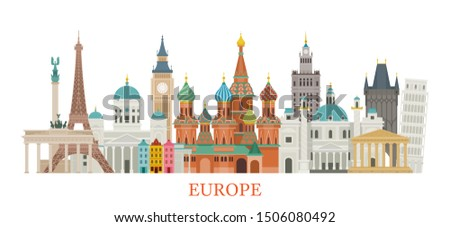 Europe Skyline Landmarks in Flat Style, Famous Place and Historical Buildings, Travel and Tourist Attraction Stockfoto ©