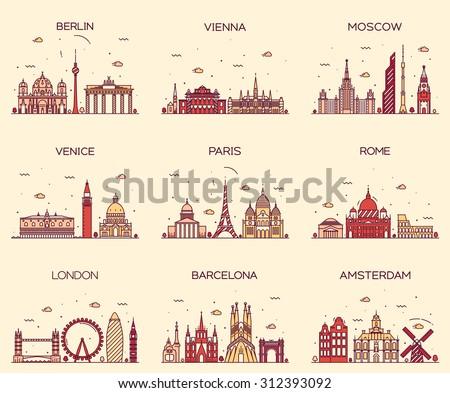 europe skylines detailed