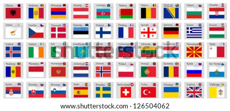 europe stamps against white background, abstract vector art illustration; image contains transparency