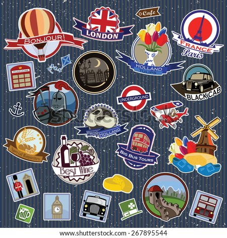 Europe. Stickers and Symbols. Mix set 1