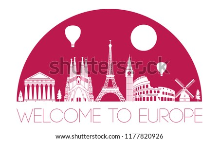 Europe top famous landmark silhouette in half circle shape with red color style,travel and tourism,vector illustration