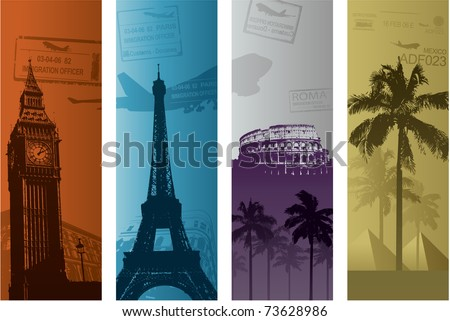 Europe travel banner illustration
