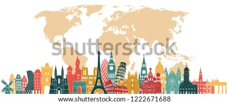 Europe travel concept. Europe famous monuments skyline. Paris, Rome, London, Moscow, Madrid, Amsterdam, Berlin, Vienna monuments. Vector illustration