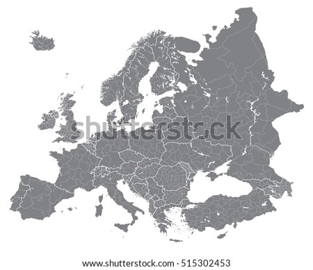 Vector maps of europe europe vector high detailed political map with regions borders political world map gumiabroncs Image collections