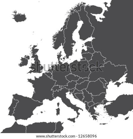 europe vector map - stock vector