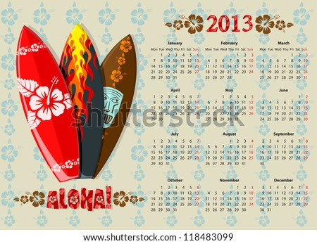 European Aloha vector calendar 2013 with surf boards, starting from Mondays