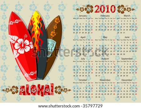 European Aloha vector calendar with surf boards, starting from Mondays