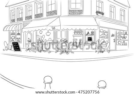 european cafe corner. hand...