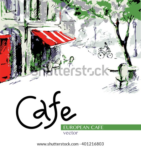 european cafe  graphic drawing