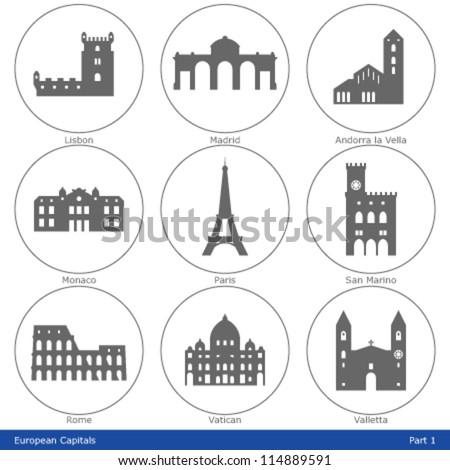 european capitals   icon set