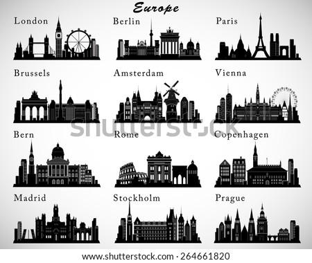 European Cities skylines set. Vector silhouettes Stock foto ©