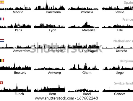 european cities skylines vector