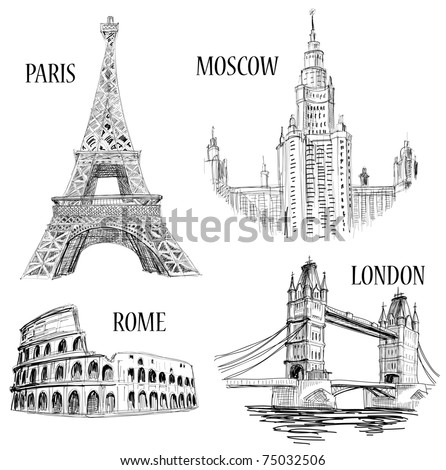 European cities symbols sketch Paris Eiffel Tower London London Bridge Rome Colosseum Moscow Lomonosov University