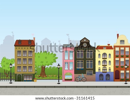 European City Center. Metropolitan Vector Collection. - stock vector