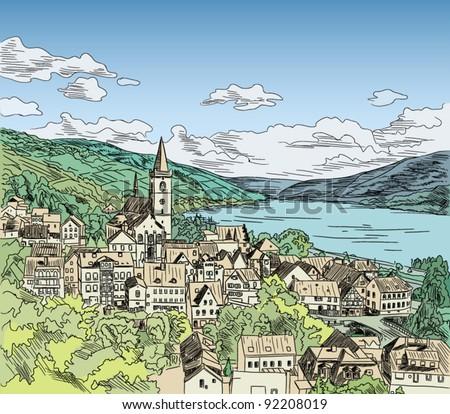 european city color vector...