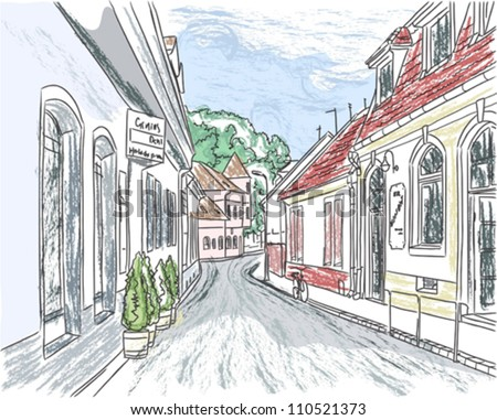 European city street color vector illustration; color and contour in different layers