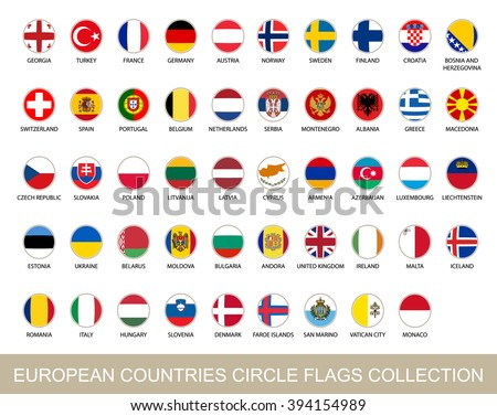 European Countries Circle Flags Collection. Circle Flags with Shadow. European flags. Vector Illustration. #394154989