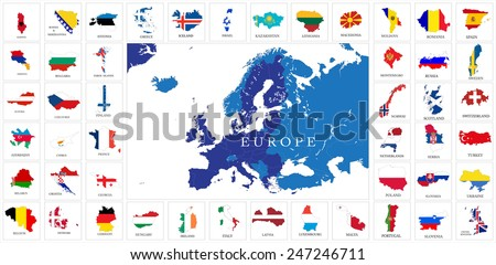 European countries flag map set