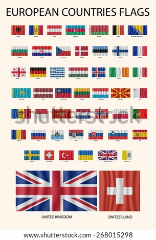 European countries flags set