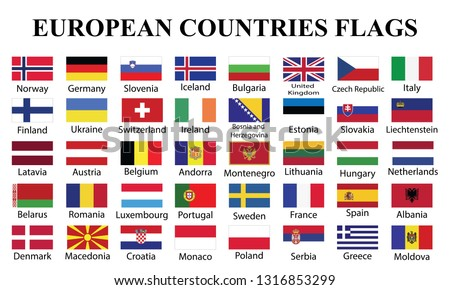 European Countries Flags with countries Names. fourty European countries flags with names drawing by illustration