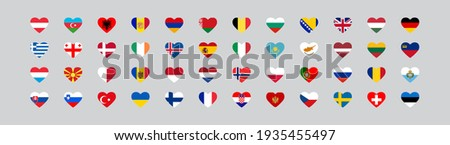 european country flag in heart