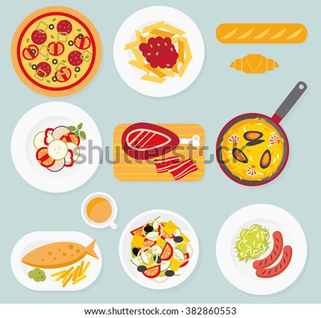 food set. Italian, French, German, English, Spanish food. Pizza, pasta ...