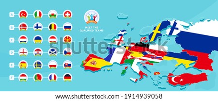 European euro 2020 football championship Vector illustration with a map of Europe with highlighted countries flag that qualified to final stage and logo sign on blue background