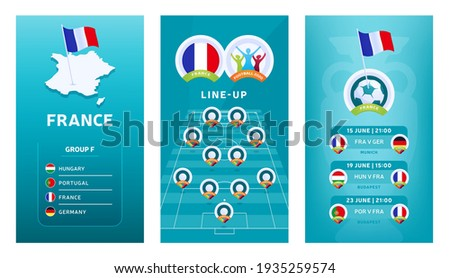 European Euro 2020 football vertical banner set for social media. France group F banner with isometric map, pin flag, match schedule and line-up on soccer field Foto stock ©