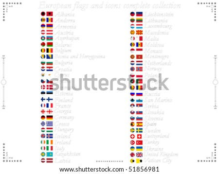 european flags and icons complete collection against white background, abstract vector art illustration