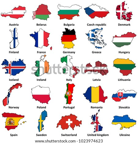 European flags in map shape on white | Vector flags in countries icon set isolated