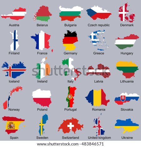 European flags in map shape | Vector flags in countries icon set isolated