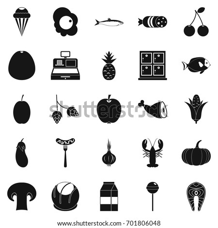 European food icons set. Simple set of 25 european food vector icons for web isolated on white background